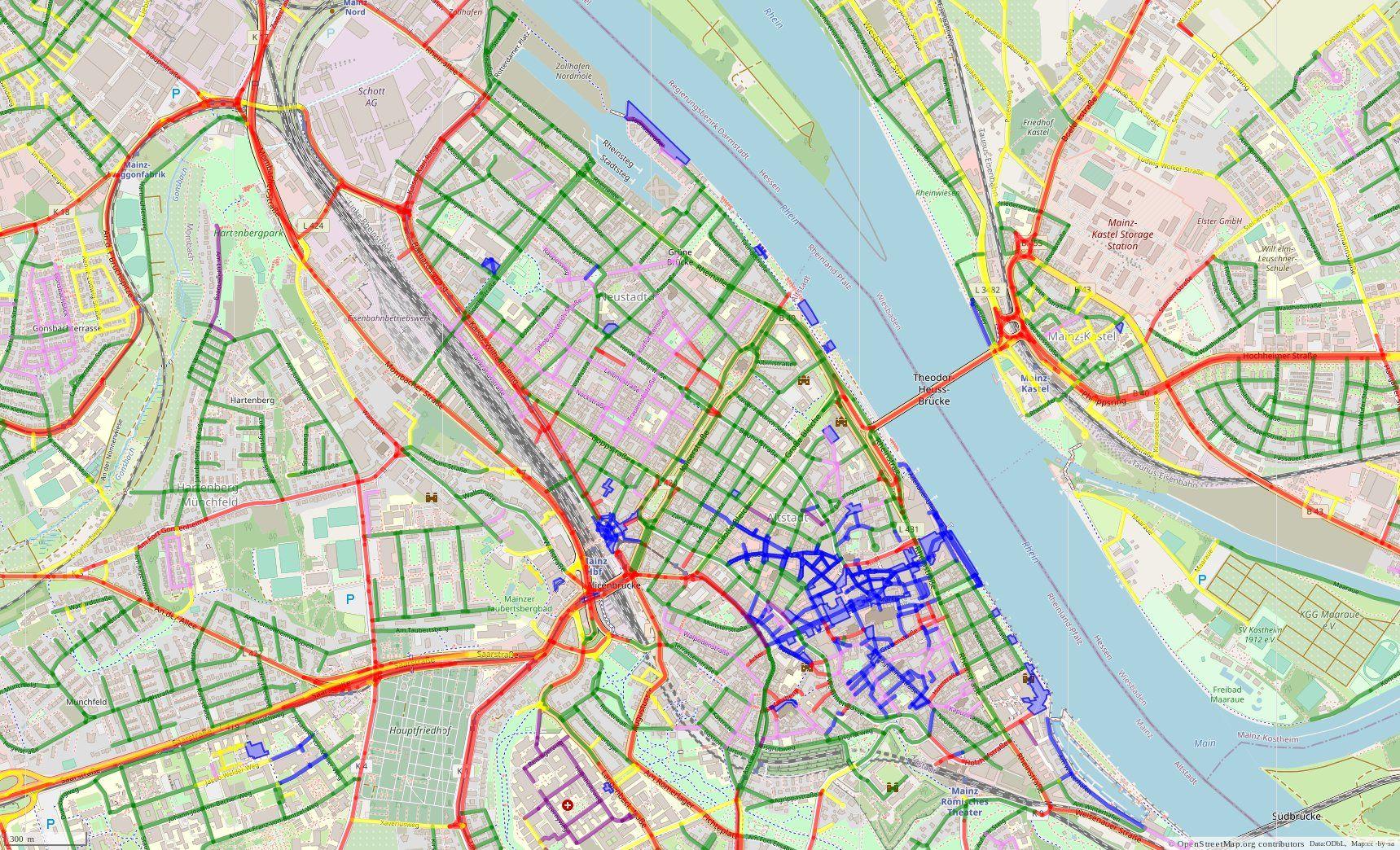 Straßenkarte von Mainz mit Visualisierung der Höchstgeschwindigkeiten